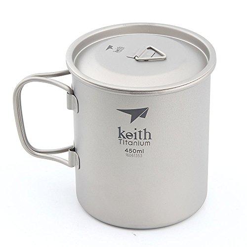 (Keith 300 ml / 900 ml Titan Tasse Outdoor Geschirr Camping Reisen Faltbare Griff Tasse (450ml))