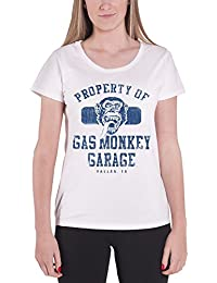 Gas Monkey Garage T Shirt Property of GMG Distressed Oficial De Las Mujeres