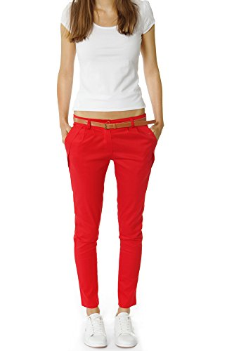 Bestyledberlin Pantaloni Donna, chino con cintura h01a Beige