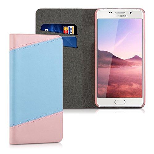 kwmobile Elegante borsa in ecopelle per Samsung Galaxy A5 (2016) con chiusura magnetica e funzione di supporto in rosa antico blu chiaro
