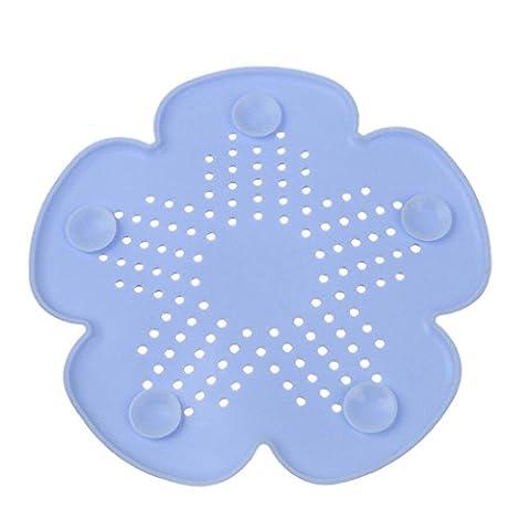Hunpta Cherry Blossom Forme Égouts filtre d'évacuation de salle de bain évier de cuisine Plug Anti-blocking eaux usées couvertures Revêtement de sol Cheveux filtre bleu