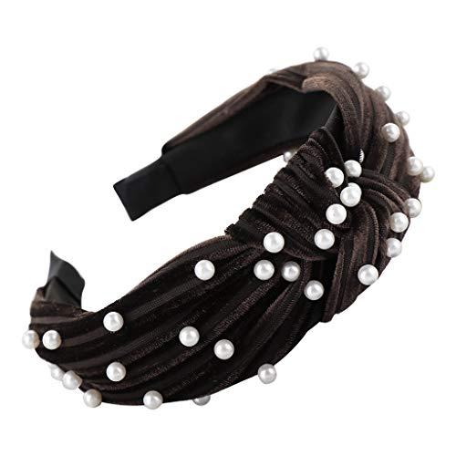 SuperSU Stirnband ►▷Frauen Wild Mode Stirnbänder Breit Haarbänder Turban Perle Dekoration Verdreht Design Haar Zubehör,Damen Niedlich Haarschmuck Stirnband Yoga Haarreif