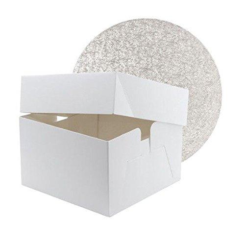 35,6 cm Blanc Boîte à gâteau avec 35,6 cm Round double épais Argent Tableau