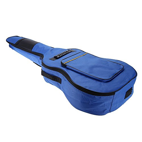 Mochila - SODIAL(R) 41' Guitarra Mochila Hombro Correas Bolsillos 5 mm Algodon Acolchada Caja Bolso del carruaje Azul