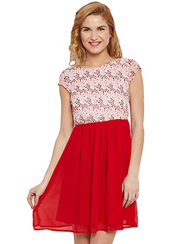 The Vanca Women Skater dress in red print with gathers at waist  available at amazon for Rs.308