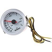 """SODIAL(R) Turbo Boost Vacuum Press calibrador de presion de metro del para el coche 2 """"52mm -1 ~ 2BAR Luz LED azul"""
