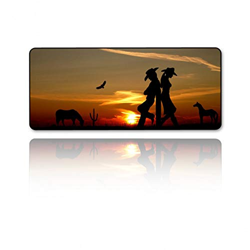 JUMOQI Gaming Mouse Pad Cowboy Series Player Liebe Gummi Unterseite Anti-Rutsch-Tastatur Matte Laptop Home Office Geschenke, 300X600X2Mm -