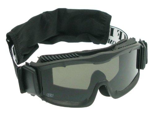 MFH Softair / Airsoft Schutzbrille -Thunder DELUXE-, mit 2 Ersatzgläsern & Stoffhülle - schwarz