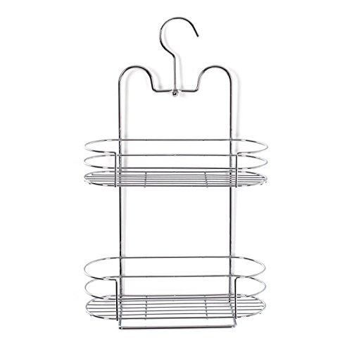 Étagère serviteur de douche en métal finition chromée avec 2 niveaux de rangement