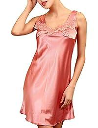 a0234af4f Vestido De Dormir Mujer Elegantes Sleeveless V-Cuello Verano Pijama Satín  Pijamas Mujer Moda Fashionista