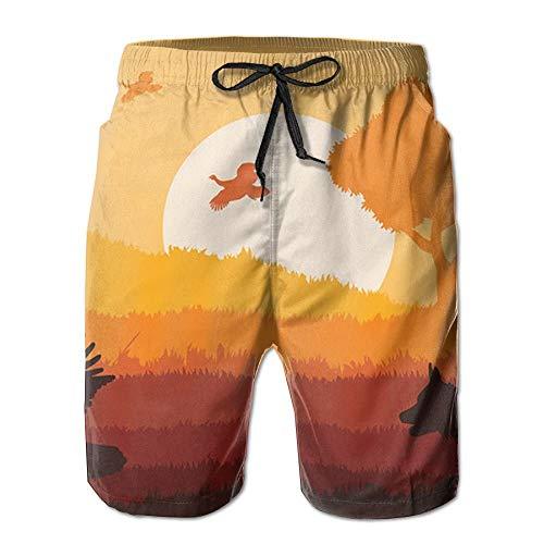 Wild Turkey Sunset Novelty Men Beach Board Shorts Outdoor Sport Beachwear Swimming - M (Wild Turkey-shirt)