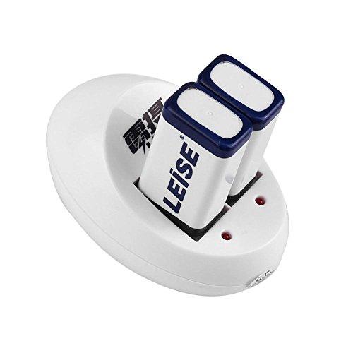 Somedays 280mAh 9V NiMH-Akku + 2 Steckplätze für schnelles, intelligentes Ladegerät für 9V NiMH-Akku mit LED-Anzeige (9v Akku-ladegerät Energizer)