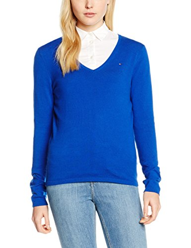 Tommy Hilfiger Damen New Ivy V-nk SWTR Pullover, Blau (Surf The Web 494), Small