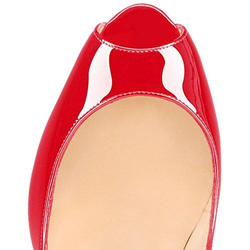 Guoar , Escarpins peep-toe femme Rouge