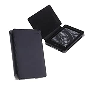 TeckNet@ Amazon Kindle Paperwhite Leather Cover/Case With 2 Kindle Screen Protectors & Built-in Magnet for Sleep/Wake Feature - Black