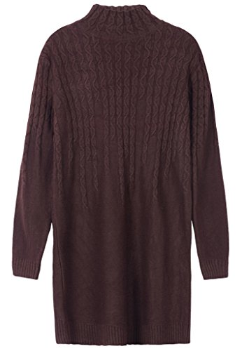 Vogueearth Femme's Longue Manche Twist Knit turtleneck Thick Pullover Tunic Sweater Chandail Tricots Marron
