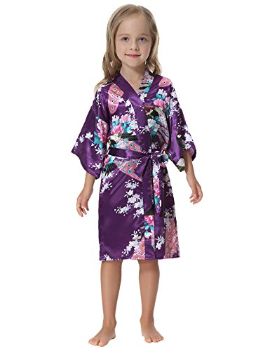 Mädchen-seiden-pyjama (Aibrou Mädchen Morgenmantel Kimono Satin Nachtwäsche Bademantel für Kinder mit Blumenmuster)