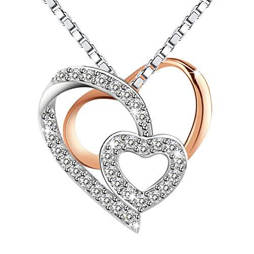 Kette Damen, Amilril Herz Rosegold Anhänger Halskette, 925 Sterling Silber 5A Zirkonia, Weihnachtsgeschenke Geschenke zum Geburtstag Jubiläum Schmuck