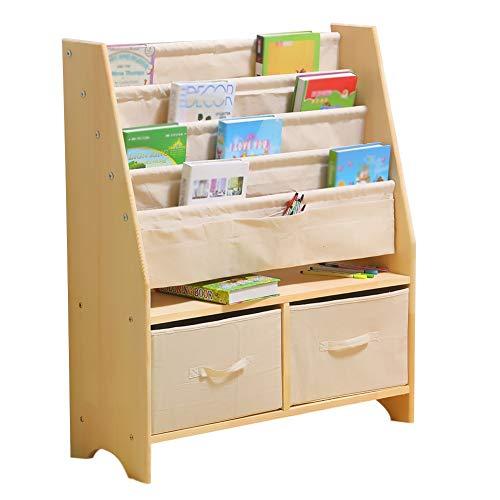 XJJUN Bücherregal for Kinder Regal Bodenstehender Modus 3 Schichten Schublade Multifunktion Einfach Waschbar Wohnzimmer Massivholz Korrosionsbeständig (Color : B, Size : 78X30X92cm) -
