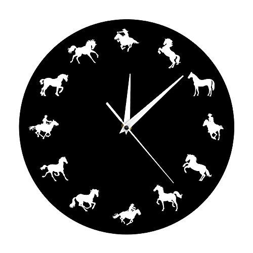hren Wild Und Freilaufend Pferd Tier Wand Dekor Uhr Cowboy Dekoratives Minimalistisches Design Pferd Wanduhr Ideal Für Jeden Raum In Der Küche Zu Hause ()