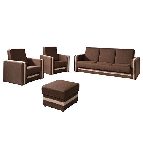 Polstergarnitur Euforia Quadro 3+1+1 und Hocker, Sofa mit Bettkasten und Schlaffunktion, 2 Sessel, Bettsofa, Polstermöbel Bettfunktion Couch (Lux 12 + Lux...