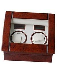 Lindberg & Sons UB8078A - Estuche con rotor para relojes, 2 compartimientos, color café