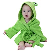 kuou Children Bath Towel, Cotton Frog Pattern Kids Robe Beach Swimming Hooded Poncho Boys and Girls