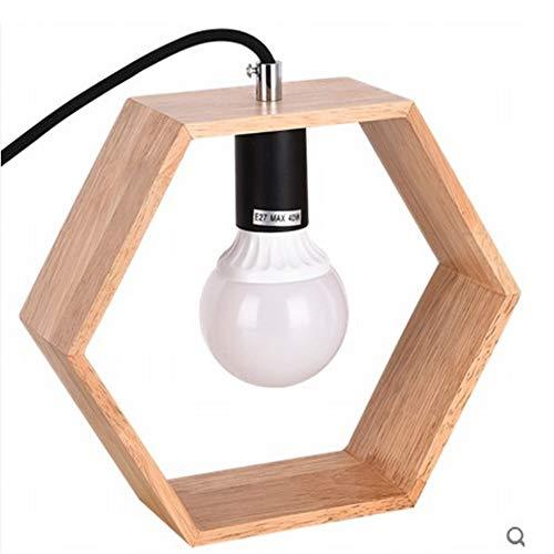 H_y Nordic Massivholz Auge Tischlampe, Hauptdekoration Lampe, einfache Holz Schlafzimmer Nachttischlampe, geometrische Kunst Nachttischlampe -