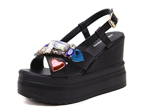 Beauqueen 5 cm Piattaforma Wedge 10.5 cm Heel Colorful Strass Decorazioni Sling-back Cinture Fibbia Outsoles antiscivolo Sandali Donna Elegante Black