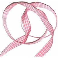 Pink & White Gingham Ribbon - per meter