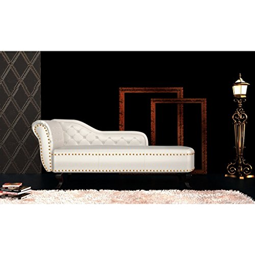 vidaXL Chesterfield Recamiere Chaiselongue Lounge Sofa Relax Liege Cremeweiß