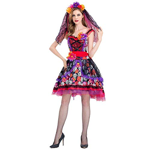 GLXQIJ Für Immer Junge Damen Tag Der Toten, Kostüm Buntes Schädelkleid Skelett Friedhof Braut Kostüm Damen - Tag Der Toten Teufel Kostüm