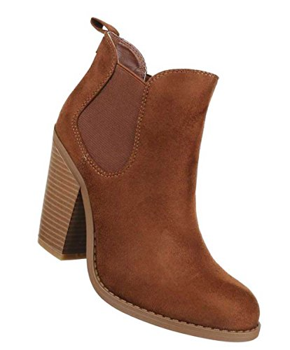 Damen Stiefeletten Schuhe Ankle Boots In Used Optik Camel Braun Camel