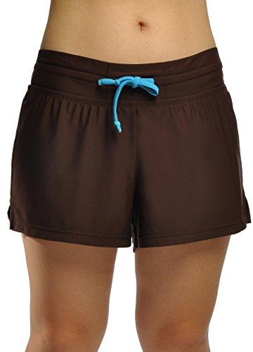 Damen UV Schutz Badeshorts Schwimmen Bikinihose Wassersport Schwimmshorts Boardshorts XL (Shorts Floral Nylon)