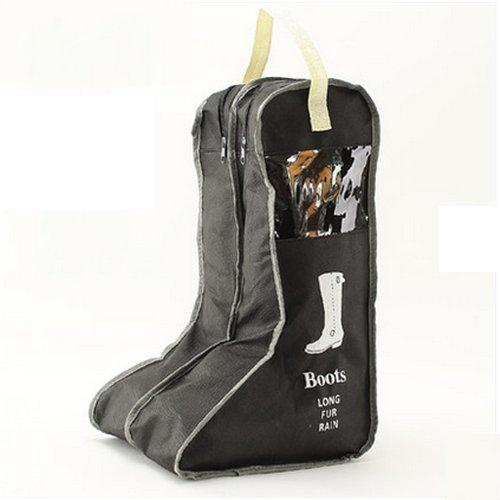 1 hochwertige und praktische große Aufbewahrungstasche aus schwarzem Vlies mit 2 Fächern für Stiefel, von Lenhar