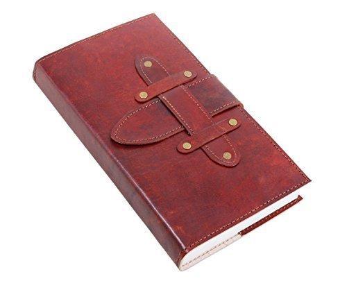 Wunderschöne weiße Hand geprägtes Leder Tagebuch Journal Schreibblock mit Thread Schließung Schule-Büro-Versorgung (Design 6) (Weiße Leder-journal)