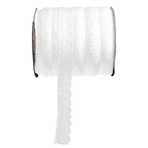 Homyl Elastische Stickerei Spitzenband Borte aus Spitze Dekoband für Nähen Handwerk Hochzeit Deko - Weiß, 2.5cm -