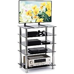 RFIVER Meuble HiFi Console 5-Tier Audio Video Support pour Boitier TV Lecteur DVDT Xbox Gaming Consoles Verre Trempé Noir HF1002