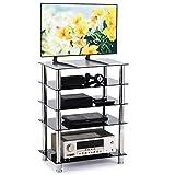 RFIVER Meuble TV Console 5-Tier Black Glass Audio Video Tower pour HiFi Boitier TV...