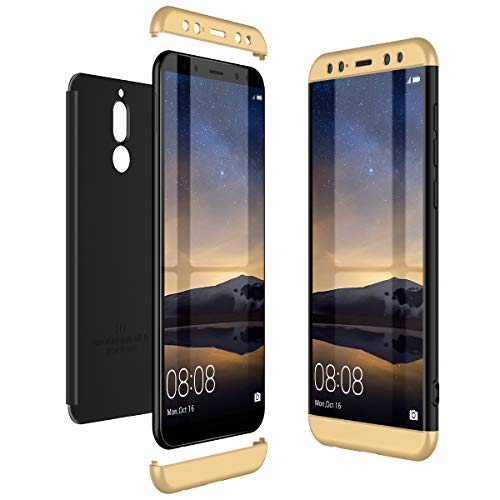 CE-Link Huawei Mate 10 Lite Hülle Hardcase 3 in 1 Handyhülle 360 Grad Hard Hartschale Grad Full Body Case Cover Schutzhülle Bumper - Gold + Schwarz
