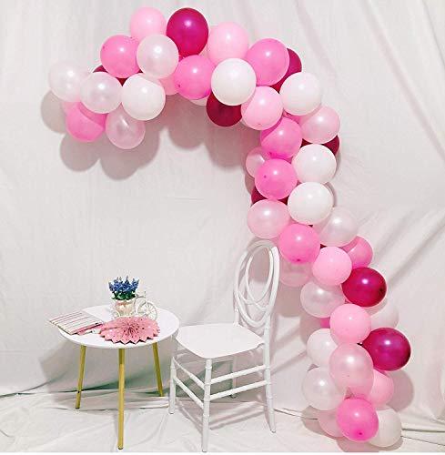 Latex Party Luftballons 100 Stück 12In - Pink Ballon Macaron 6 Farben für Party Dekoration Geburtstag Hochzeit Baby Shower (Rosa, Hellrosa, Dunkelrosa, Rose Red, Perlweiß, Mattweiß)