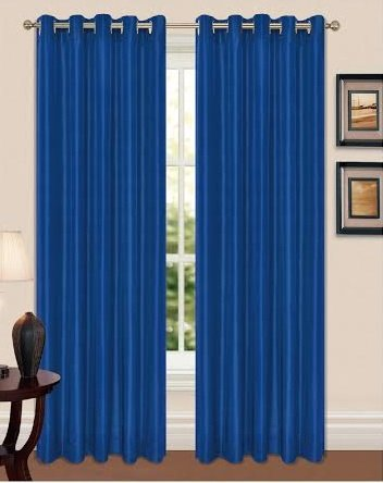FAUX SILK, FULLY LINED, EYELET, RING TOP CURTAINS WITH TIE BACKS (66x90, Blue)