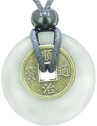 Suerte moneda mal de ojo protección poderes amuleto blanco copo de nieve cuarzo 30mm Donut colgante collar