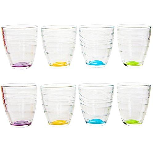 Bunte Gläser im 8er Set Trinkgläser Wassergläser a 250 ml in 4 tollen Farben