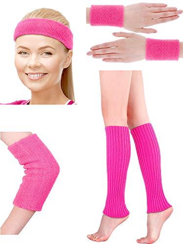 (Damen 80s Neon Rosa Stirnband Armbänder Ellenbogenschutz Gestrickte Beinlinge Set für 1980s Party Kostüm Sport Zubehör)