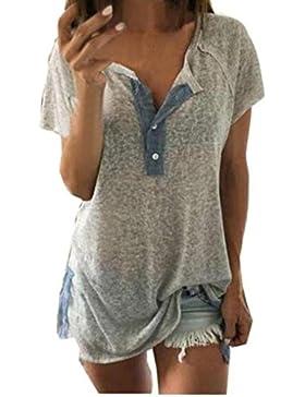 Feitong Mujeres Sueltan el Botón de La Blusa Ocasional T Camisetas Sin Mangas Camiseta (XXXXXL)