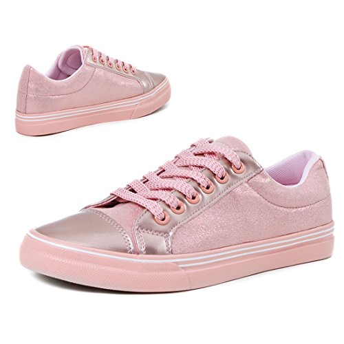 Scarpe Da Donna Classiche Unisex Basse Sneaker Basse Alte Rosa Metallizzato