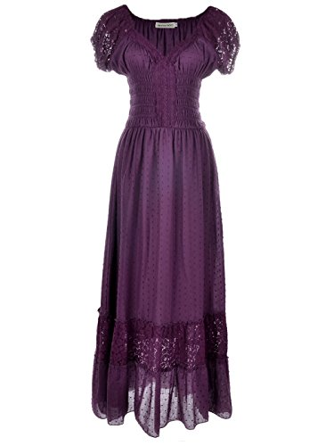 Anna-Kaci Lila Große Größen Smock Taille Sommer-Maxi Kleid mit Flügelärmeln Boho ()