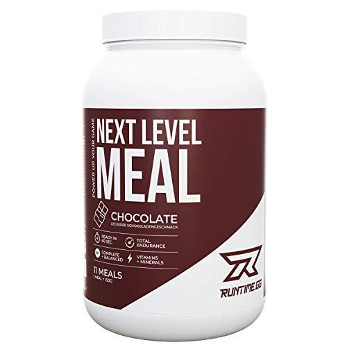 Runtime Next Level Meal Chocolate - vollwertiger Nahrungsersatz, Sättigung (5-6 Stunden), Energie und Leistungsfähigkeit, mit Vitaminen und Nährstoffen und Aminosäuren, 1,65kg - 11 Mahlzeiten - Stunden Energie Fünf