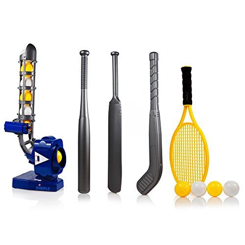 Power Pro Kids 4 In 1 Multi-Function Pitching Machine, Plus Baseball Bat, Tennis Racket, Hockey Stick, Cricket Bat & 12 Balls - Blue Test